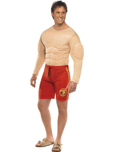 Baywatch Lifeguard Costume with Muscle Chest-Costumes - Mens-Jokers Costume Hire and Sales Mega Store