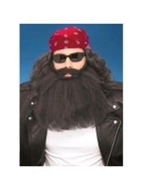 Beard And Moustache - Black 14 Inch-Beards and Moustaches-Jokers Costume Hire and Sales Mega Store