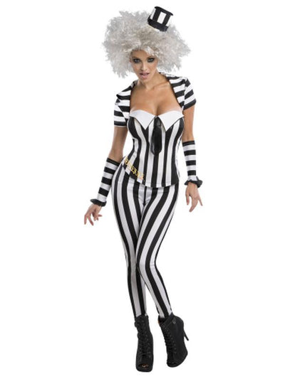 Beetlejuice Secret Wishes Blk/Wht Corset - Size M-Costumes - Women-Jokers Costume Hire and Sales Mega Store