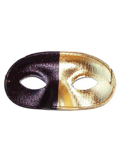 Bi Colour Eye Mask Black and Gold-Masks - Masquerade-Jokers Costume Hire and Sales Mega Store