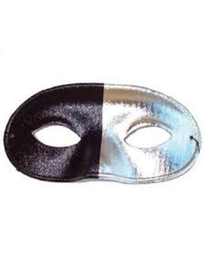 Bi Colour Eye Mask Black and Silver-Masks - Masquerade-Jokers Costume Hire and Sales Mega Store