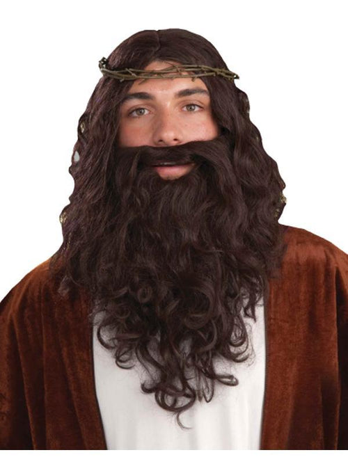 Biblical Jesus Wig Set w/Crown of Thorns-Wigs-Jokers Costume Hire and Sales Mega Store