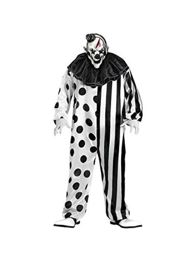 Black and White Clown Suit with mask-Costumes - Mens-Jokers Costume Hire and Sales Mega Store