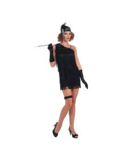 Black Diamond Dazzle Flapper Costume - Size S-Costumes - Women-Jokers Costume Hire and Sales Mega Store