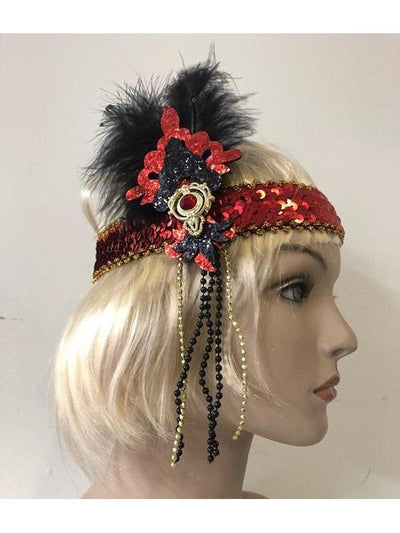 Black Feather Red Flapper Headband-Hats and Headwear-Jokers Costume Hire and Sales Mega Store