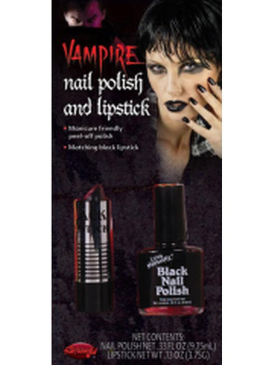 Black Lipstick & Nail Polish Set-Halloween Makeup & Special FX-Jokers Costume Hire and Sales Mega Store