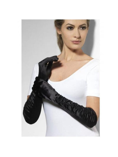 Black Long Temptress Gloves-Armwear-Jokers Costume Hire and Sales Mega Store