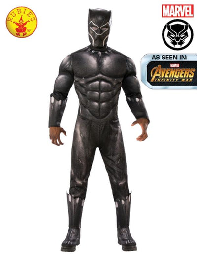 BLACK PANTHER DELUXE COSTUME, ADULT.-Costumes - Mens-Jokers Costume Hire and Sales Mega Store