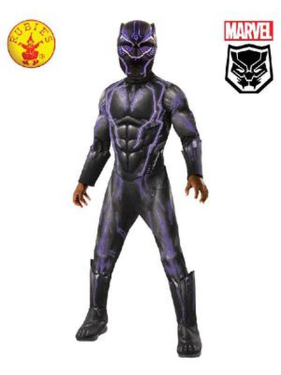 BLACK PANTHER SUPER DELUXE BATTLE COSTUME, CHILD 8-10YR-Costumes - Boys-Jokers Costume Hire and Sales Mega Store