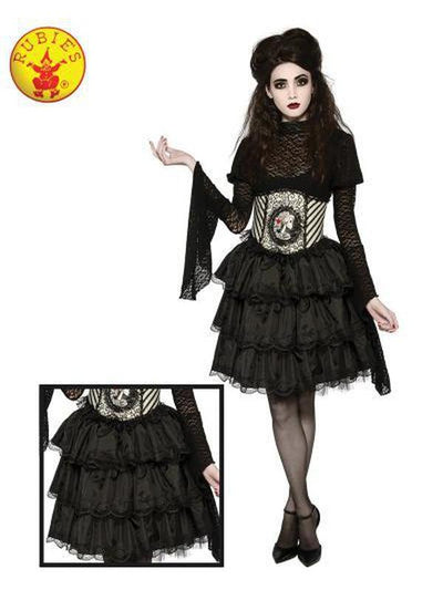 BLACK RUFFLE SKIRT, ADULT-Costumes - Women-Jokers Costume Hire and Sales Mega Store