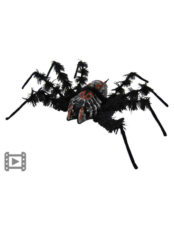 Black Shaking Spider w/Red Eyes & Snd-Halloween Props and Decorations-Jokers Costume Hire and Sales Mega Store