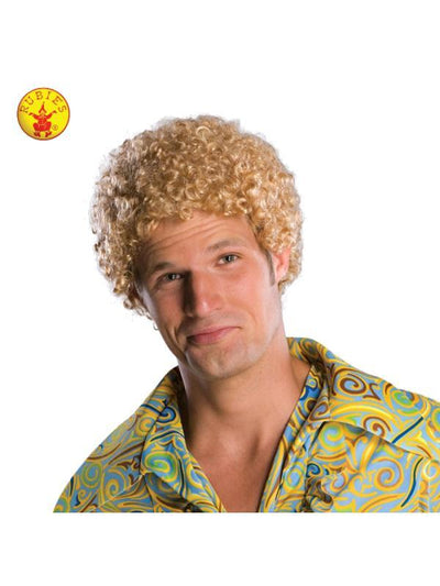 BLONDE TIGHT AFRO WIG, ADULT-Wigs-Jokers Costume Mega Store