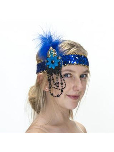 Blue with Flower Feather Flapper Headband-Hats and Headwear-Jokers Costume Mega Store