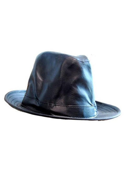 Blues Bros Black Vinyl Hat - SMALL**-Hats and Headwear-Jokers Costume Hire and Sales Mega Store