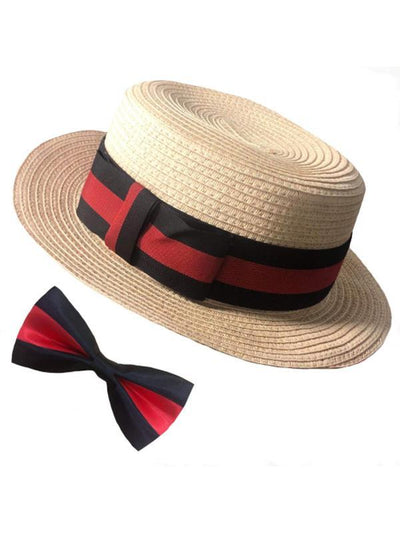 Boater Hat &Bow Tie Set-Hats and Headwear-Jokers Costume Hire and Sales Mega Store