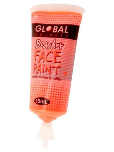 Body Art 15ml Tube - FLUORO ORANGE-Make-up - Global Body Art-Jokers Costume Hire and Sales Mega Store