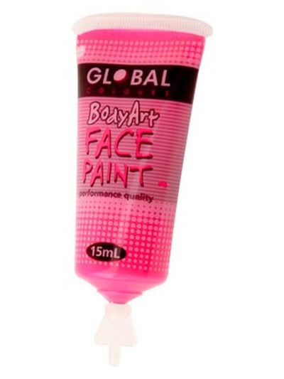 Body Art 15ml Tube - FLUORO PINK-Make-up - Global Body Art-Jokers Costume Hire and Sales Mega Store