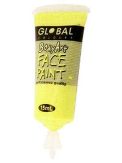Body Art 15ml Tube - FLUORO YELLOW-Make-up - Global Body Art-Jokers Costume Hire and Sales Mega Store