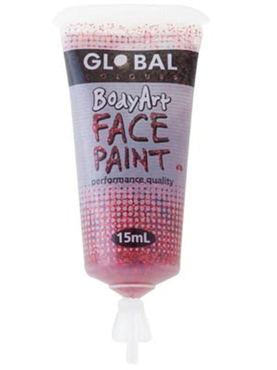 Body Art 15ml Tube - RED GLITTER-Make-up - Global Body Art-Jokers Costume Hire and Sales Mega Store