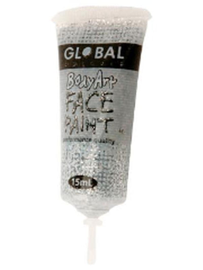 Body Art 15ml Tube - SILVER GLITTER.-Make-up - Global Body Art-Jokers Costume Hire and Sales Mega Store