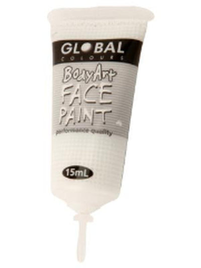 Body Art 15ml Tube - WHITE.-Make-up - Global Body Art-Jokers Costume Hire and Sales Mega Store
