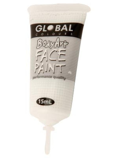 Body Art 15ml Tube - WHITE-Make-up - Global Body Art-Jokers Costume Hire and Sales Mega Store