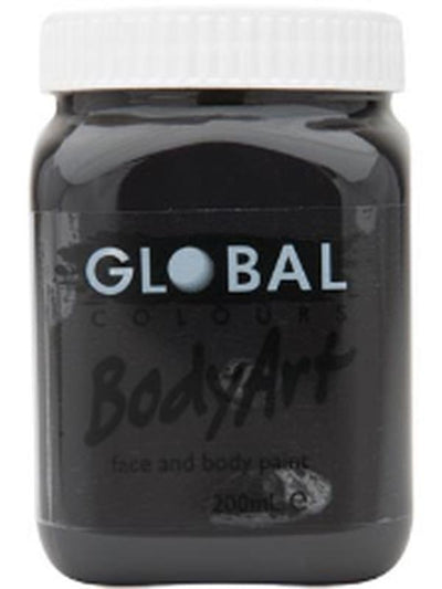 Body Art 200ml Jar - BLACK-Make-up - Global Body Art-Jokers Costume Hire and Sales Mega Store