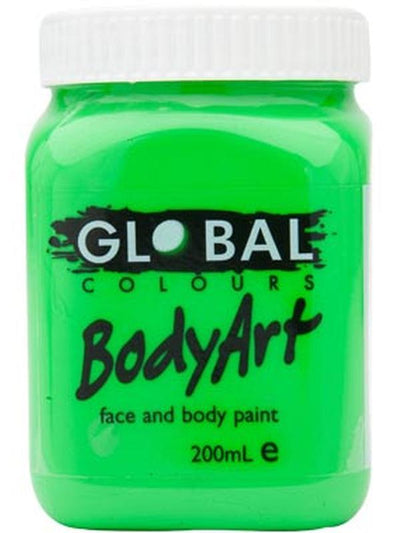 Body Art 200ml Jar - FLUORO GREEN-Make-up - Global Body Art-Jokers Costume Hire and Sales Mega Store