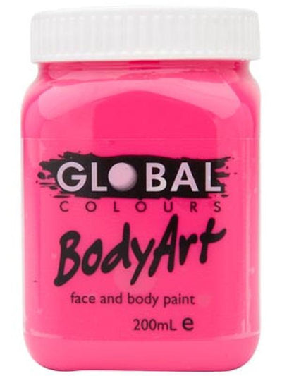 Body Art 200ml Jar - FLUORO PINK-Make-up - Global Body Art-Jokers Costume Hire and Sales Mega Store