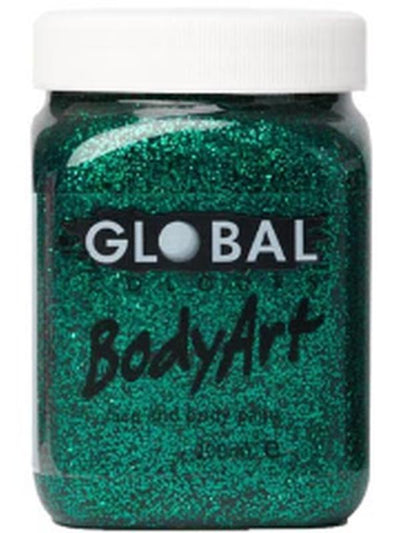 **Body Art 200ml Jar - GREEN GLITTER**-Make-up - Global Body Art-Jokers Costume Hire and Sales Mega Store