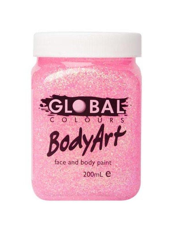 **Body Art 200ml Jar - PINK GLITTER**-Make-up - Global Body Art-Jokers Costume Hire and Sales Mega Store