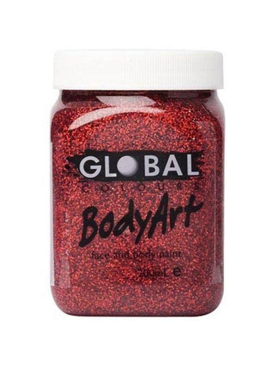 **Body Art 200ml Jar - RED GLITTER**-Make-up - Global Body Art-Jokers Costume Hire and Sales Mega Store
