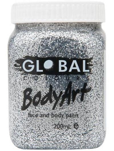 Body Art 200ml Jar - SILVER GLITTER-Make-up - Global Body Art-Jokers Costume Hire and Sales Mega Store