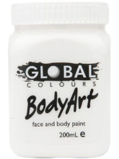 Body Art 200ml Jar - WHITE-Make-up - Global Body Art-Jokers Costume Hire and Sales Mega Store