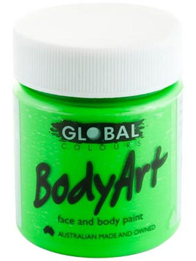 Body Art 45ml Jar - FLUORO GREEN-Make-up - Global Body Art-Jokers Costume Hire and Sales Mega Store