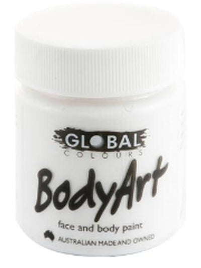 Body Art 45ml Jar - WHITE-Make-up - Global Body Art-Jokers Costume Hire and Sales Mega Store