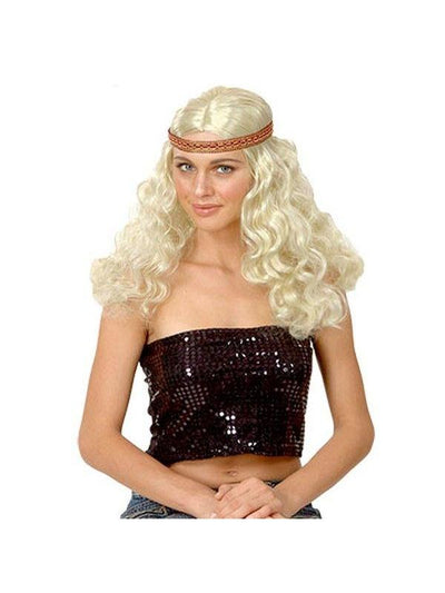 Bohemian Hippie Wig - Blonde Curly-Wigs-Jokers Costume Hire and Sales Mega Store