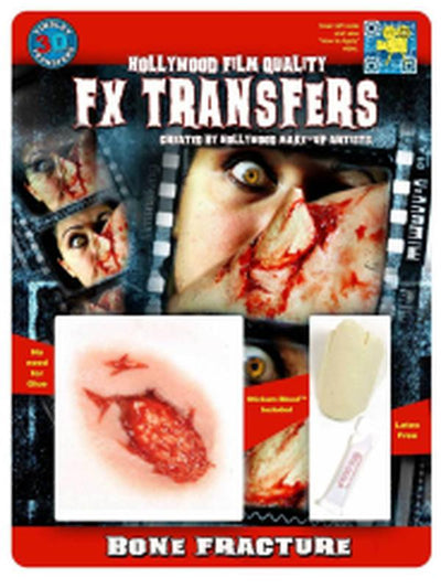 Bone Fracture 3D FX Transfer - Medium-Halloween Makeup & Special FX-Jokers Costume Hire and Sales Mega Store