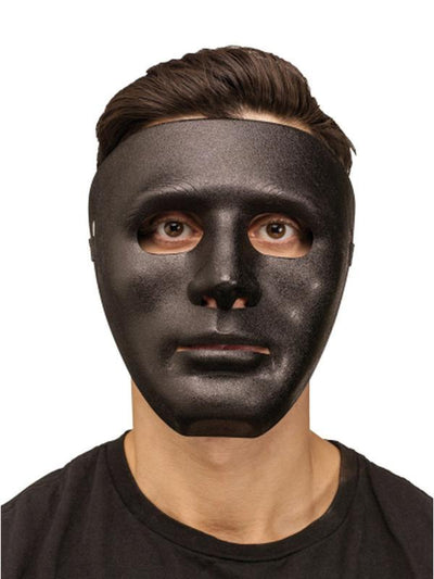 Budget Blank Plastic Mask - Black-Masks - Masquerade-Jokers Costume Hire and Sales Mega Store