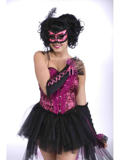 Burlesque Half Mask Pink/Black Adult-Masks - Masquerade-Jokers Costume Hire and Sales Mega Store