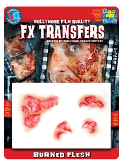 Burned Flesh 3D FX Transfer - Medium-Halloween Makeup & Special FX-Jokers Costume Hire and Sales Mega Store