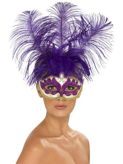 Can Can Beauty Eyemask with Feather-Masks - Masquerade-Jokers Costume Hire and Sales Mega Store
