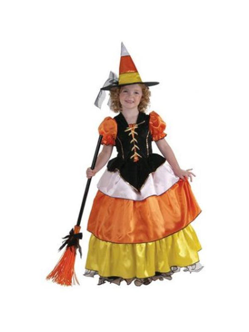 Candy Corn Witch Costume - Size M-Costumes - Girls-Jokers Costume Hire and Sales Mega Store