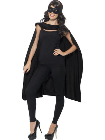 Cape - Black with Eyemask-Costume Accessories-Jokers Costume Hire and Sales Mega Store