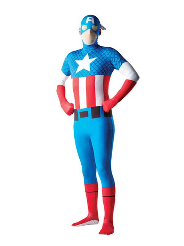 Captain America 2Nd Skin Suit - Size L-Costumes - Mens-Jokers Costume Hire and Sales Mega Store