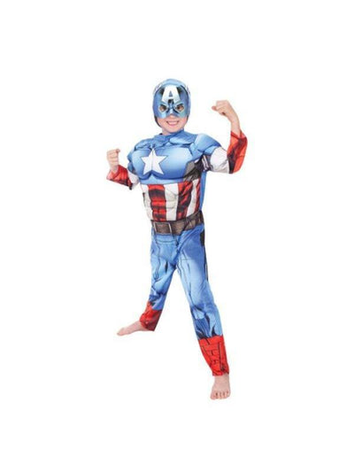Captain America Avengers Assemble Deluxe - Size 6-8-Costumes - Boys-Jokers Costume Hire and Sales Mega Store
