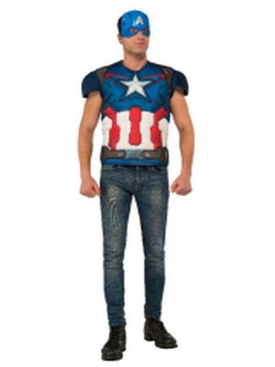 Captain America Costume Top - Size Xl-Costumes - Mens-Jokers Costume Hire and Sales Mega Store