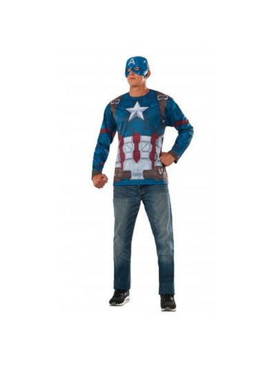 Captain America Costume Top - Size Xl.-Costumes - Mens-Jokers Costume Hire and Sales Mega Store