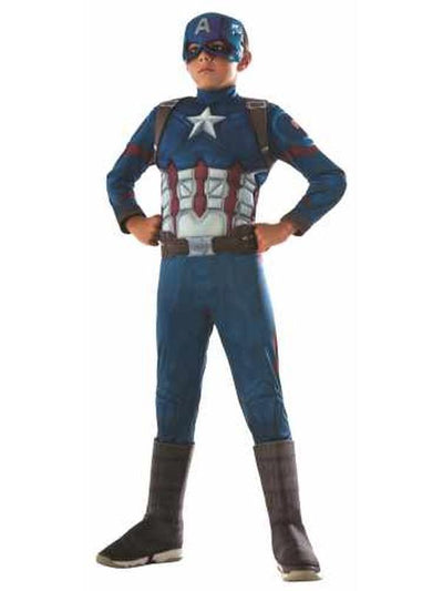 Captain America Cw Deluxe Costume - Size 3-5-Costumes - Boys-Jokers Costume Hire and Sales Mega Store