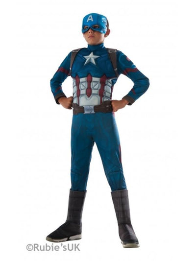 Captain America Cw Deluxe Costume - Size S-Costumes - Boys-Jokers Costume Hire and Sales Mega Store